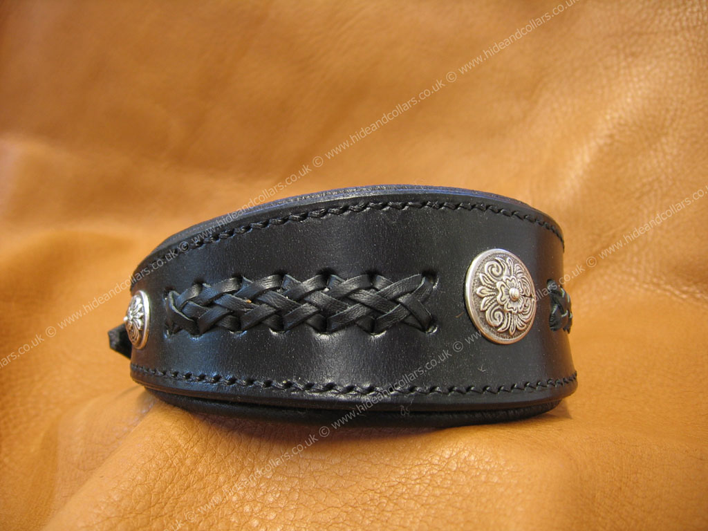 braided leather whippet collar with conchos