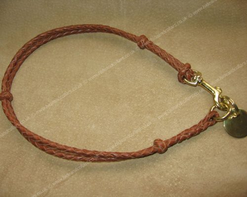 Braided leather ID collar