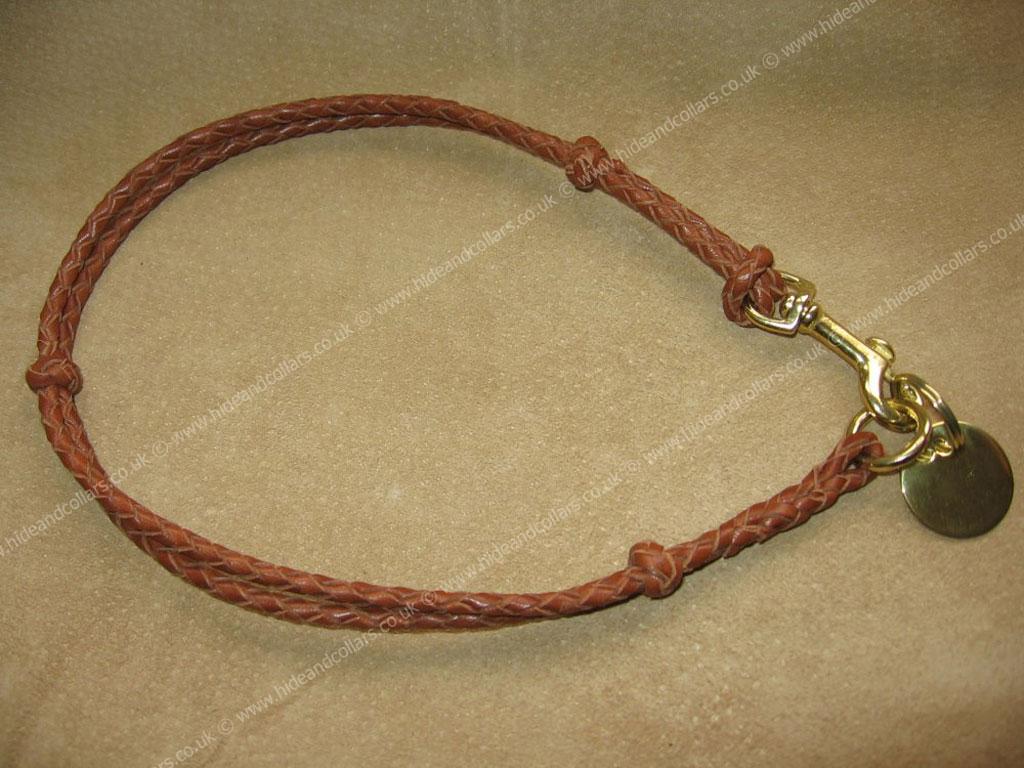 Braided leather ID collar