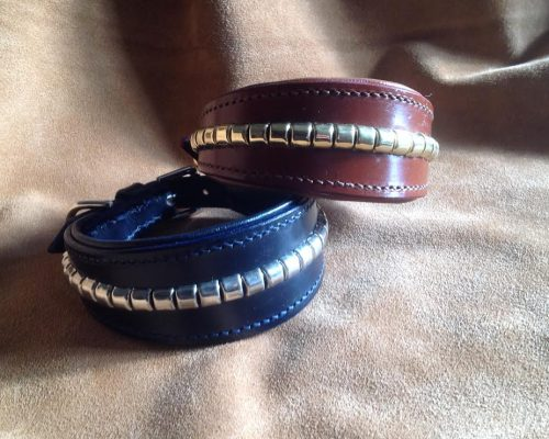 clinchered leather whippet collar