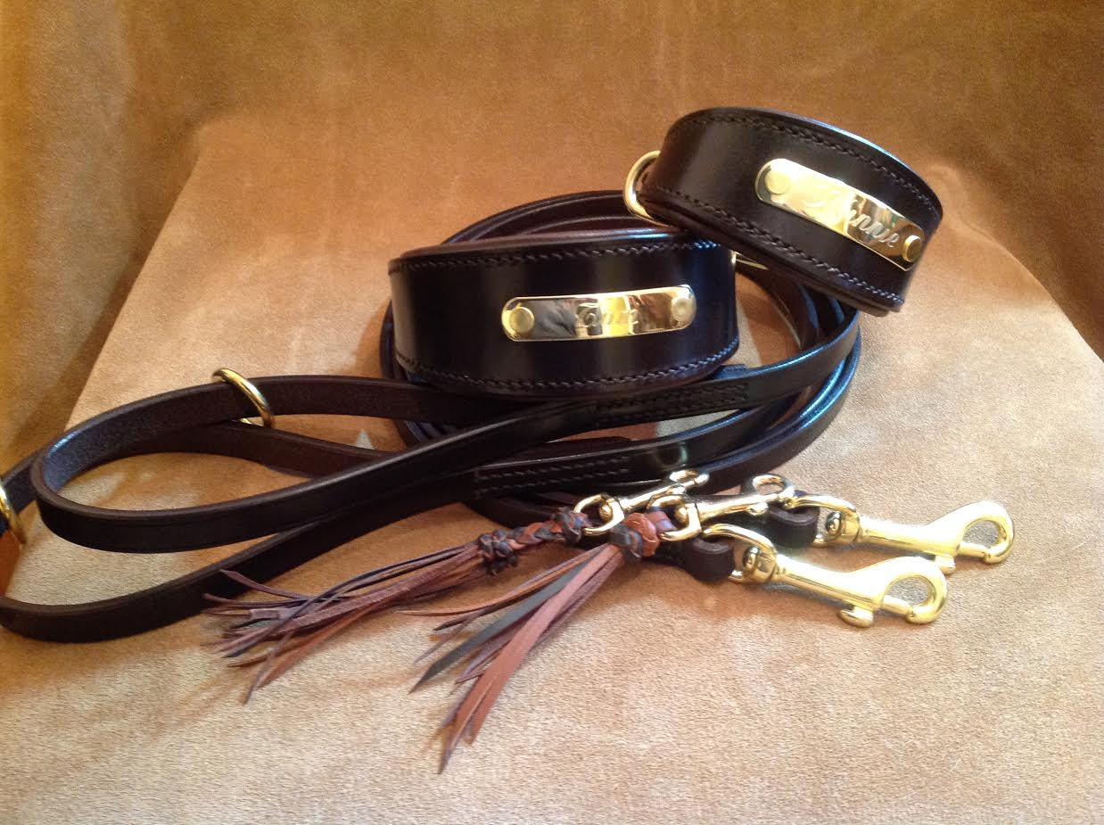 leather whippet collar with name plate