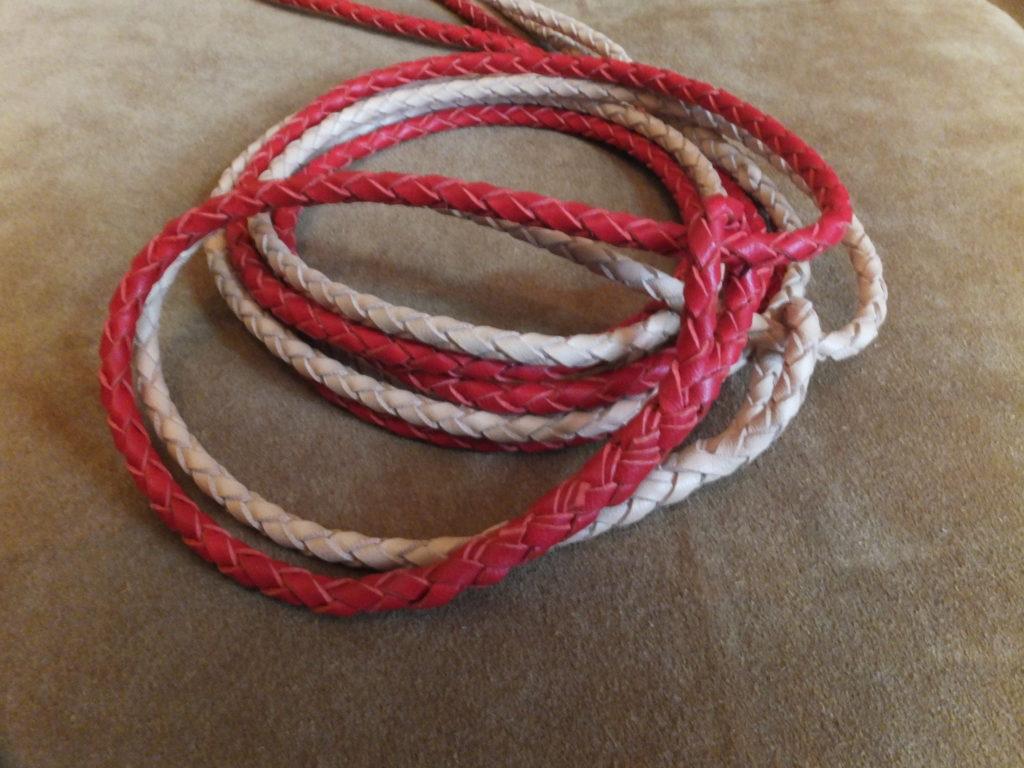 braided kangaroo leather slip lead