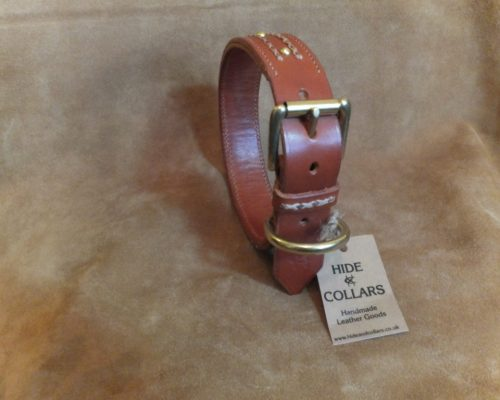 leather collar stitched and studded