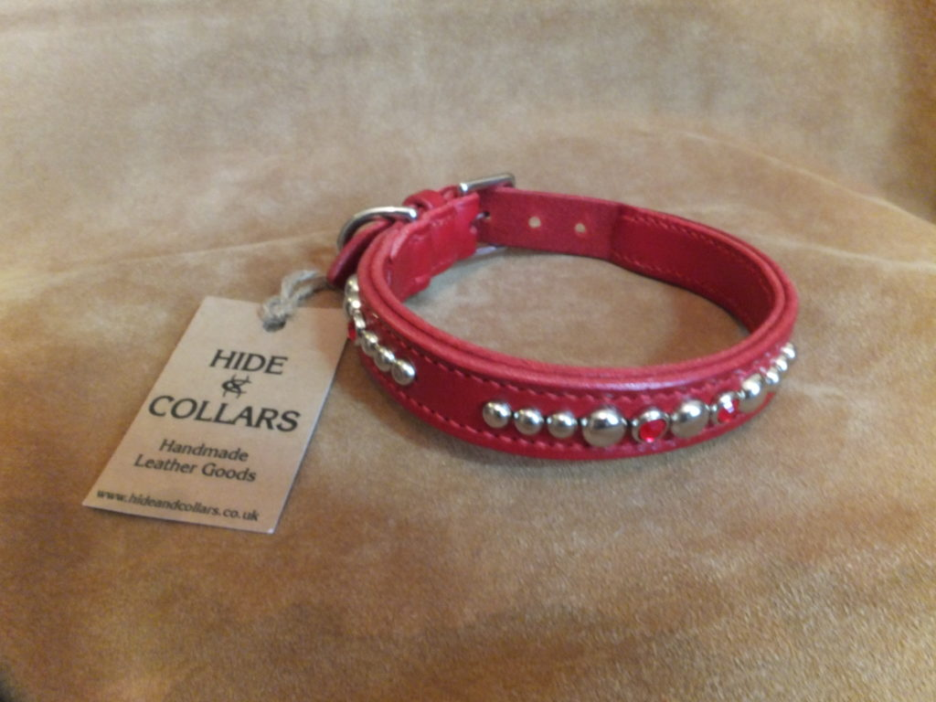 Red leather studded collar