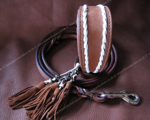 laced leather whippet collar