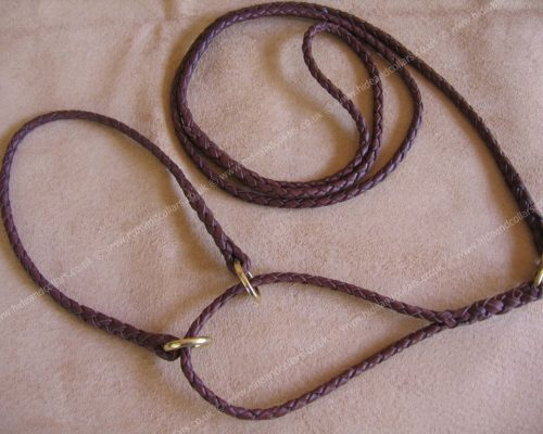 braided kangaroo all leather half check