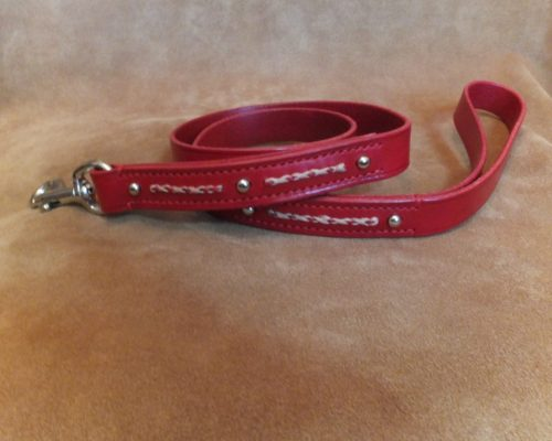stitched and studded leather lead