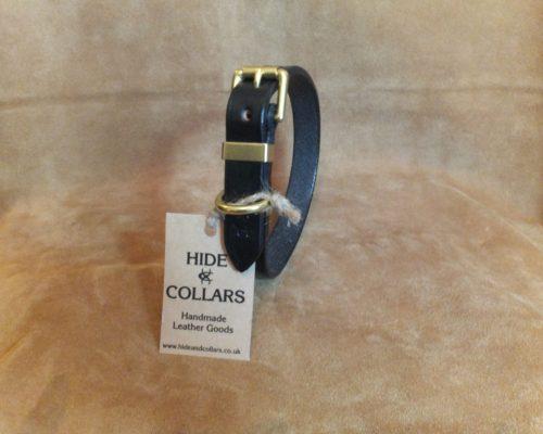 black flat leather dog collar